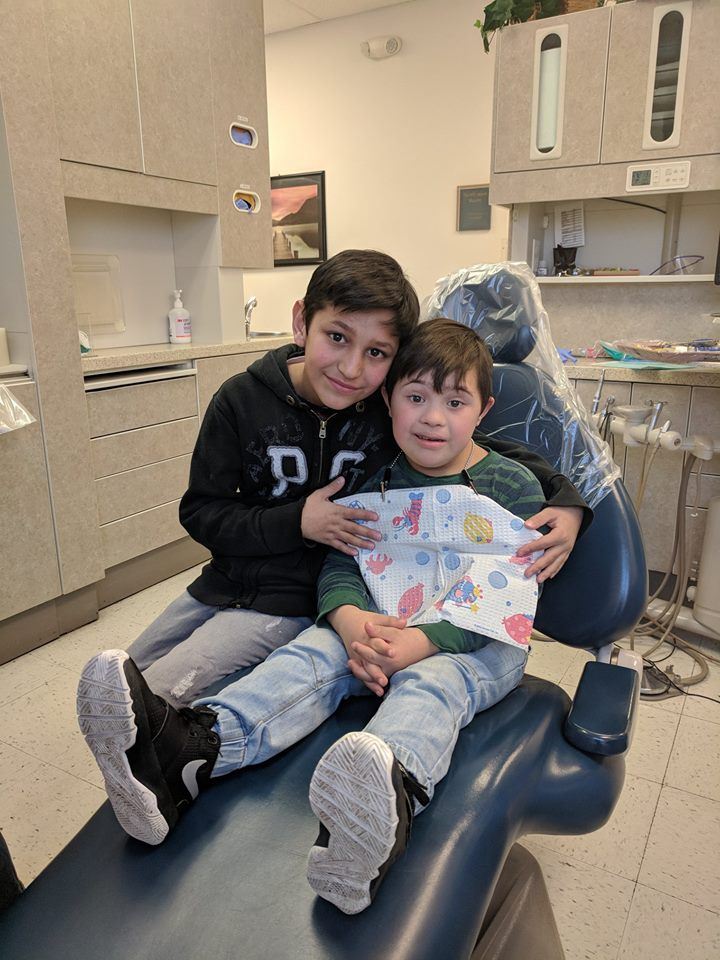 two boys in a dental clinic
