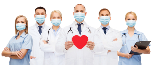 medicine_ cardiology and healthcare concept - group of doctors wearing protective medical masks with red heart and stethoscopes over white background