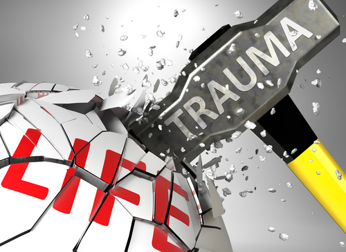 Trauma and destruction of health and life - symbolized by word Trauma and a hammer to show negative aspect of Trauma_ 3d illustration