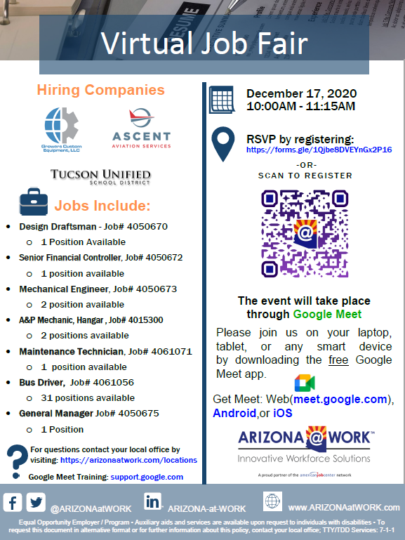 Arizona at Work virtual job fair december 17 2020