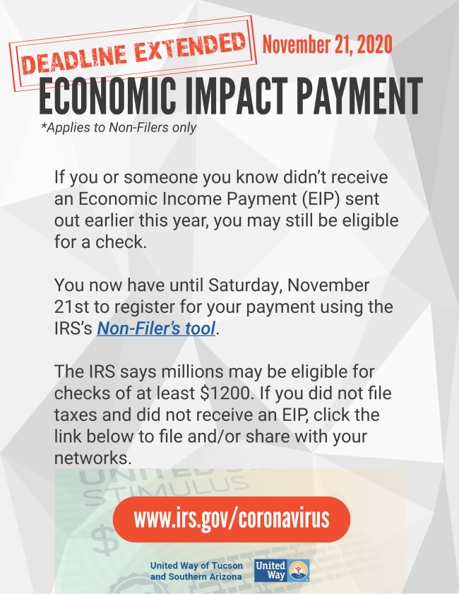 Economic Impact Payment deadline extended to 11/21