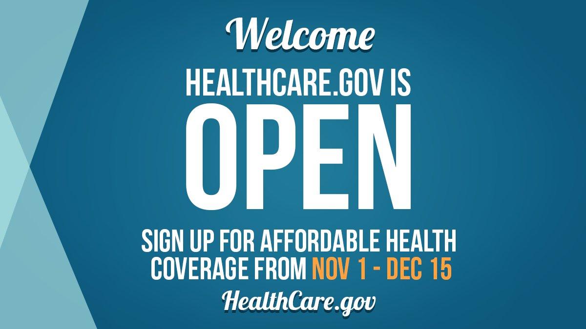 Healthcare.gov is now open 11/1-12/15