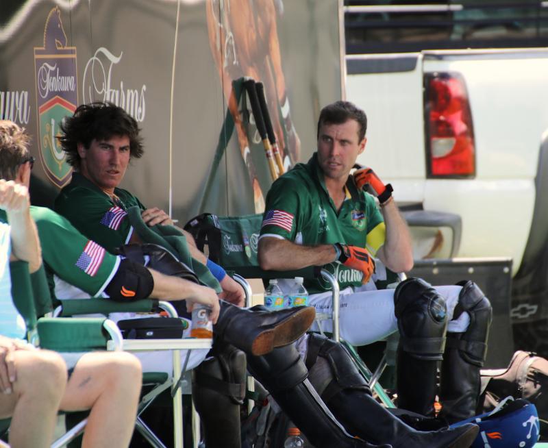 Tonkawa teammates Juan Martin Obregon and Sapo Caset in the players_ tent between chukkers.