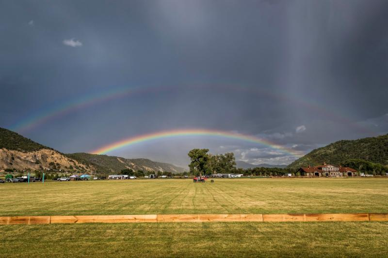 A rainbow during the third game was a nice backdrop for the 119th USPA Silver Cup.