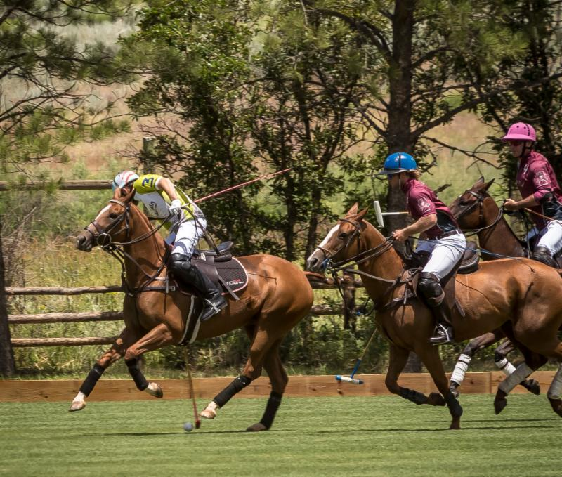 Grant Ganzi of Mountain Chevrolet reaches for the ball beneath his horse with Gussie Busch and Juan Bollini defending.