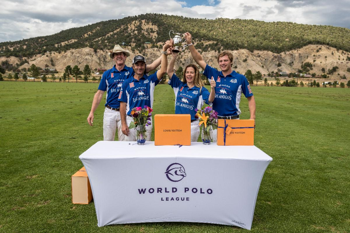 Just For The Fun Of It Cup champions Los Amigos Blue_s Stewart Armstrong_ Sebastian Merlos_ Alejandra Foster and Alfredo Bigatti.