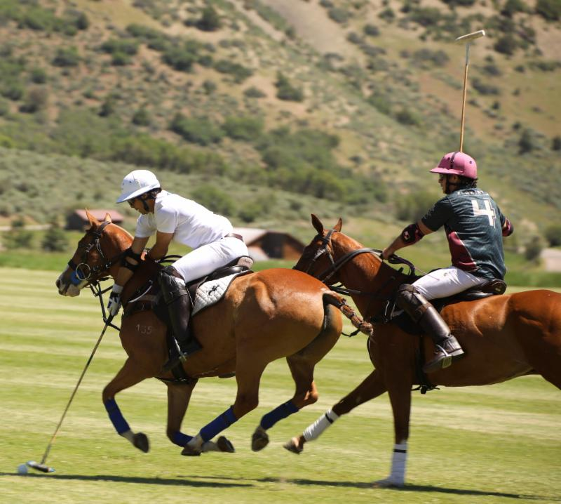 Juan Bollini of Flexjet defends Nacho Figueras of Piocho Ranch as he works the near side shot.