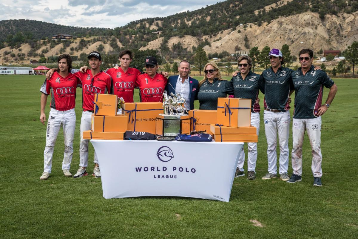 WPL Triple Crown of Polo finalists Audi and Flexjet with awards presenter Josh Cohen of ESPN West Palm.