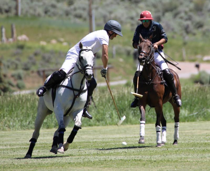 Salvador Ulloa of Piocho Ranch hits a near side shot with Alejandro Novillo Astrada of Flexjet defending.