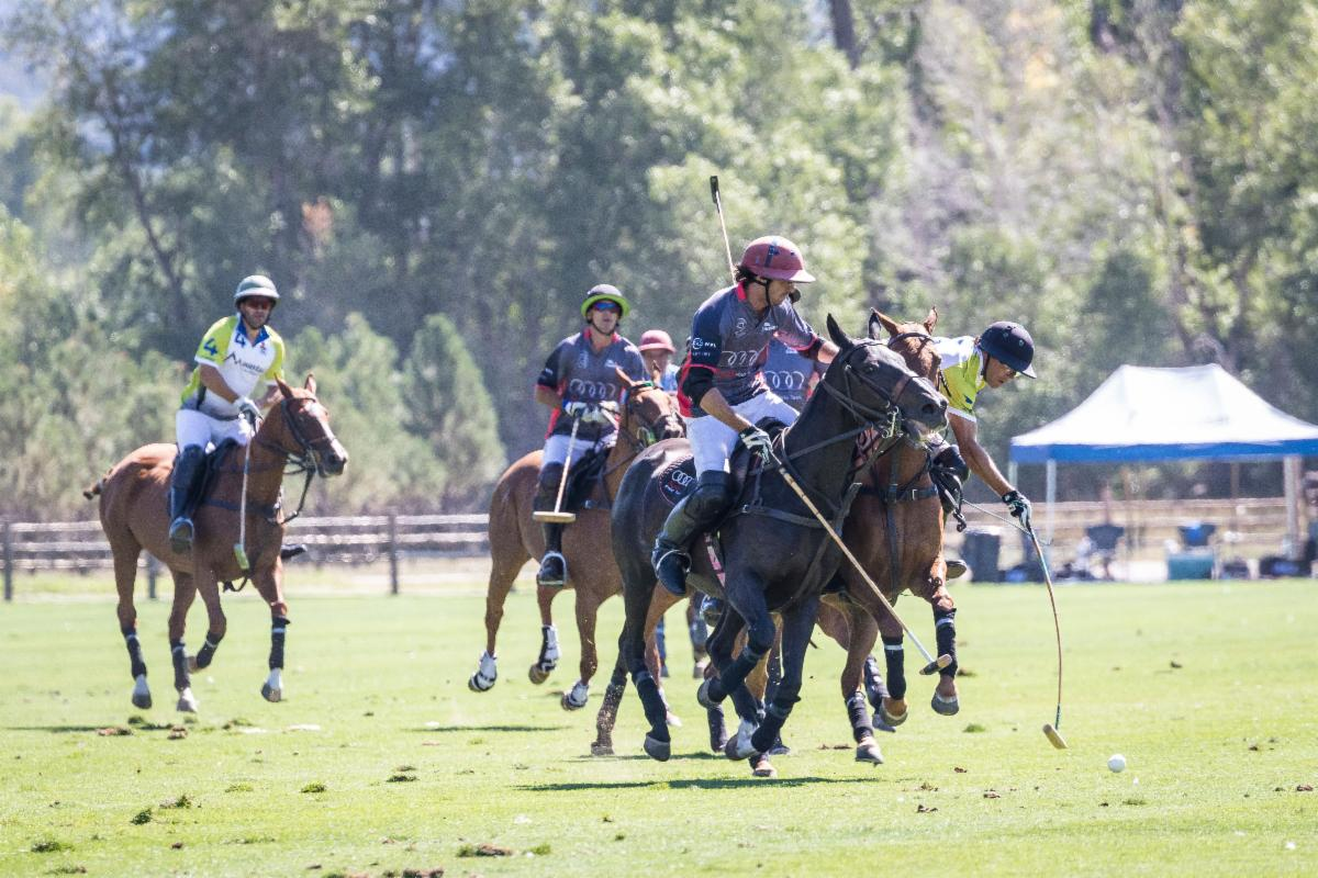 Lucas Lalor of Audi and Hilario Ulloa of Mountain Chevrolet try to ride off each other as Ulloa goes for the near side shot.