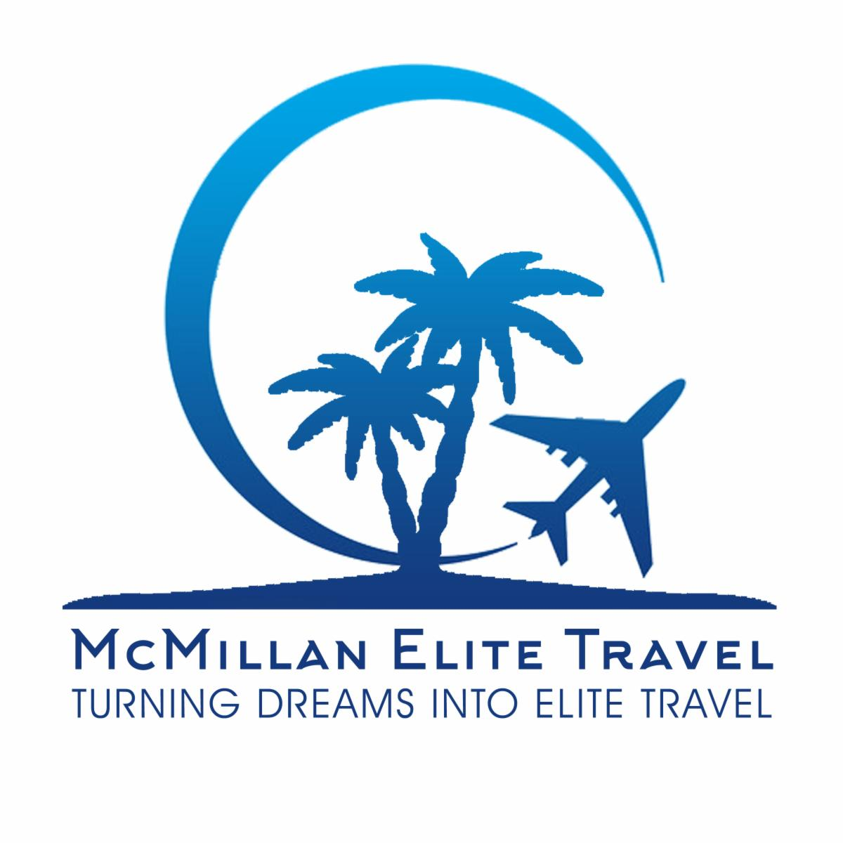 McMillan Elite Travel Logo -- Palm trees on a beach are surrounded by a crescent moon which connects into a plane taking off into the air.