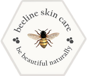 """Beeline Skin Care Logo - Features a honeybee, wings outstretched, with """"beeline skin care"""" and """"be beautiful naturally"""" encircling it."""