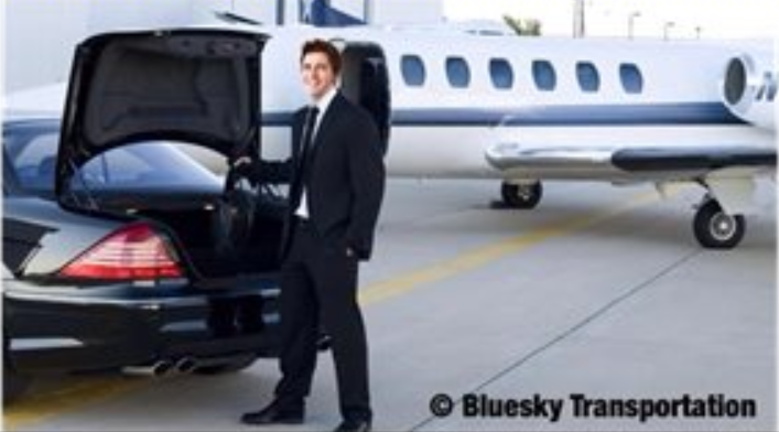 Promotional image for Bluesky Transportation showing a gentleman arriving at the airport for a flight.