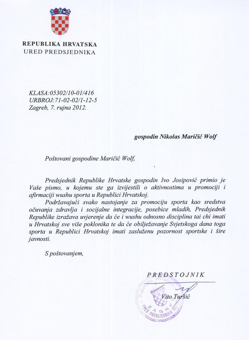 Croatia's President Recognizes WTCQD
