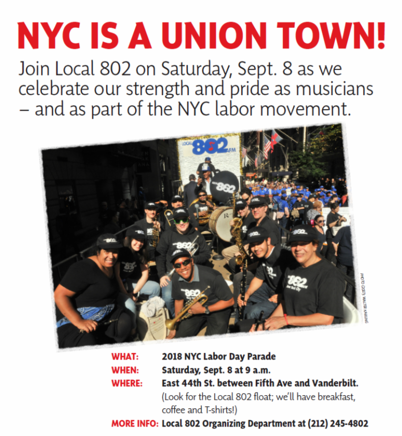 IMAGE_ Join Local 802 on Sept. 8 for labor day