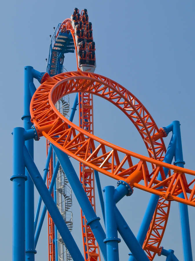 roller coaster in amusement park with vertical drop     Note  Slight blurriness_ best at smaller sizes