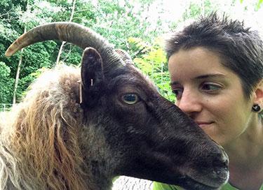 Julia with a sheep