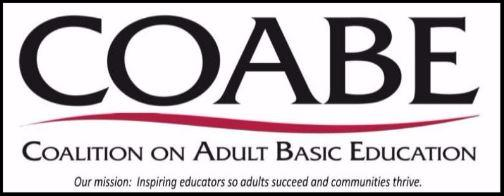 Coalition on Adult Basic Education Logo. Our mission Inspiring educations so adults succeed and communities thrive.