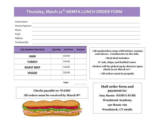 2019 Lunch Grinder Order