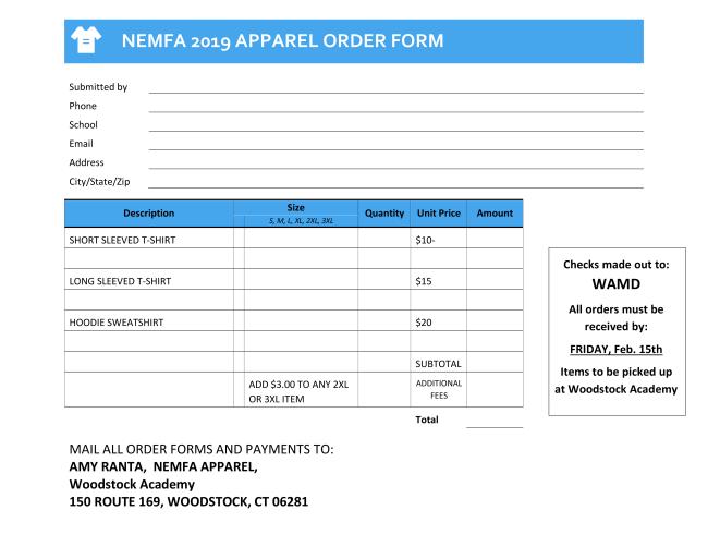 2019 T-Shirt Order Form