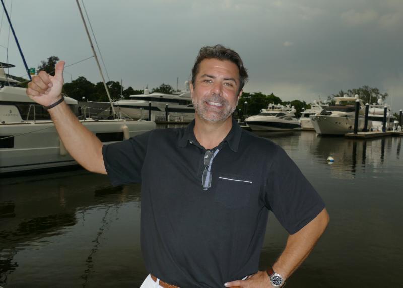 broker on a catamaran