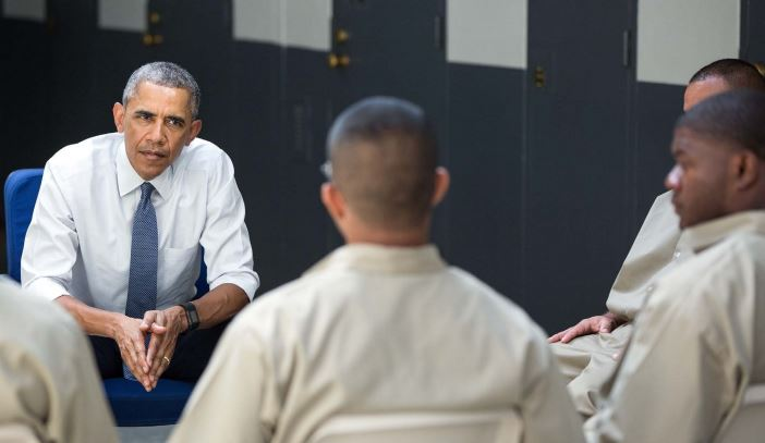 President Obama sits with incarcerated men at El Reno Federal Correctional Institution.