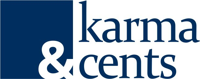 blue and white karma and cents logo