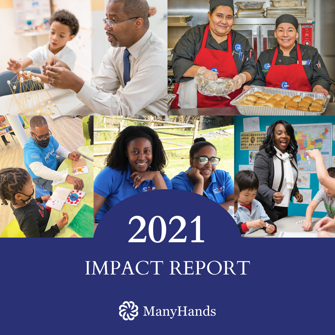 Photos of grantee programs wtih caption 2021 Impact Report