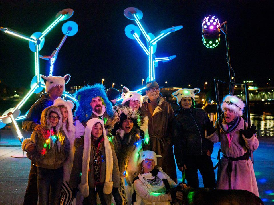 A scene from the Willamette Light Brigade's 2019 Portland Winter Light Festival