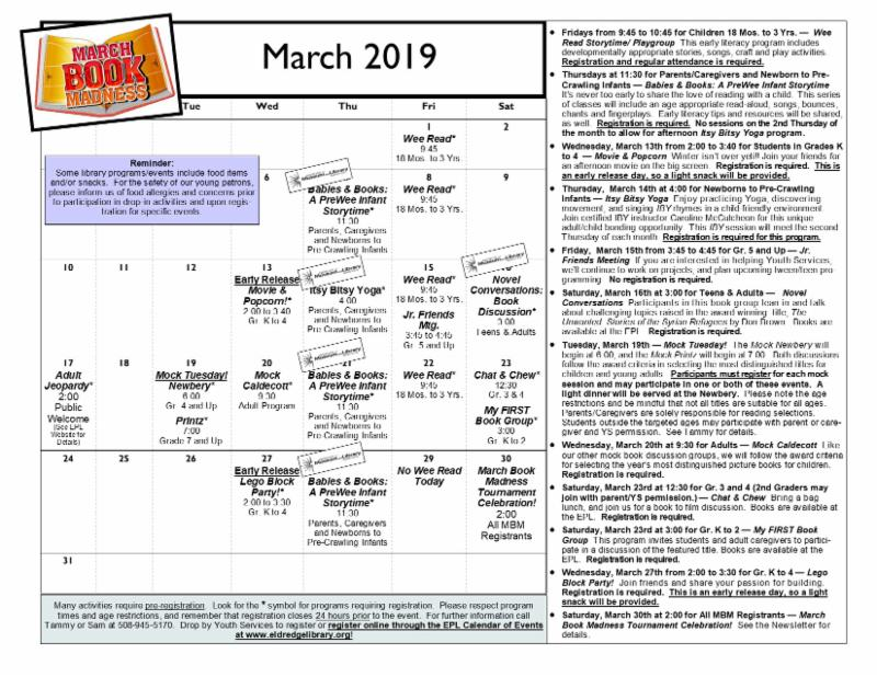 Youth Services March Calendar