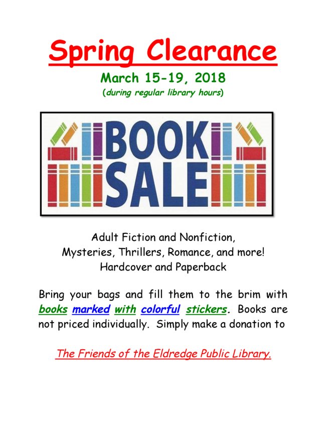 March 2018 book Sale flyer
