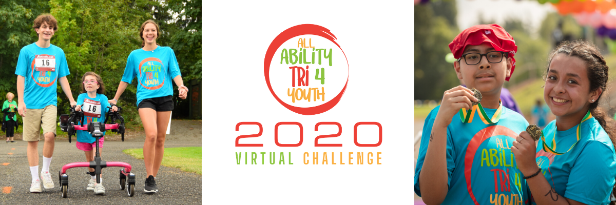 Siblings posing for photos on either side of the All Ability Tri4Youth Virtual Challenge logo
