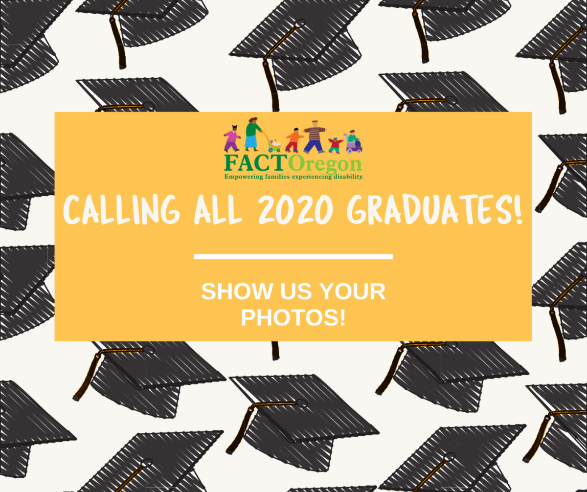 Wallpaper with illustrations of graduation caps with a yellow text box on top that reads Calling All 2020 Graduates! Show Us Your Photos!