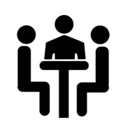 icon of three people having a meeting at a table