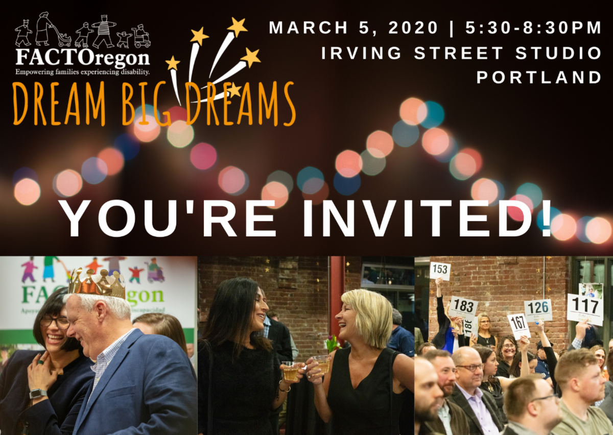 You're invited to Dream Big Dreams March 5 2020 from Five-thirty to Eight-thirty at Irving Street Studio