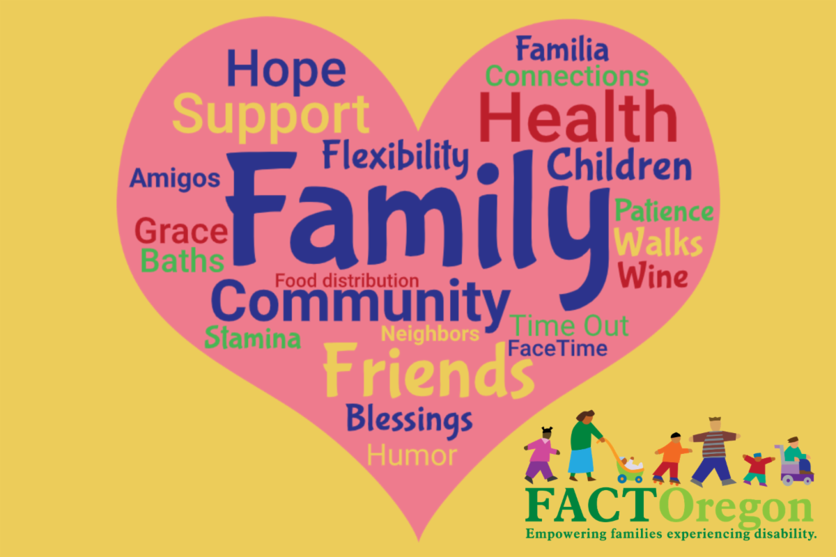Yellow background with pink heart and FACT Oregon logo. Lots of words in heart. Biggest words are family, friends, community, support, hope, health, connections, flexibility, children, patience.