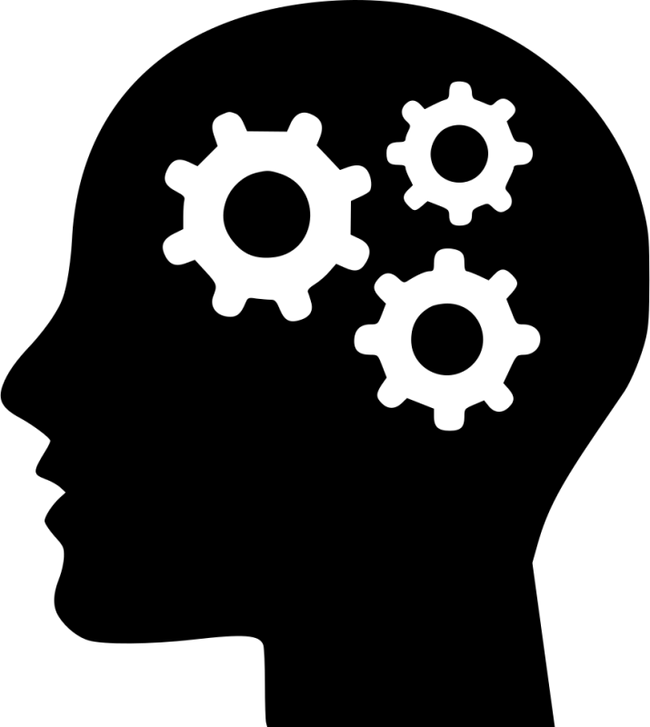 icon of a silhouette of a person with three gears in their head