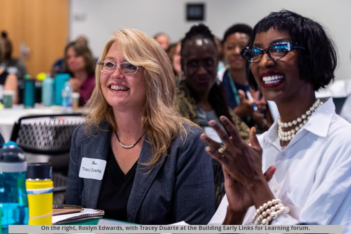 On the right, Roslyn Edwards, with Tracey Duarte at the Building Early Links for Learning forum.