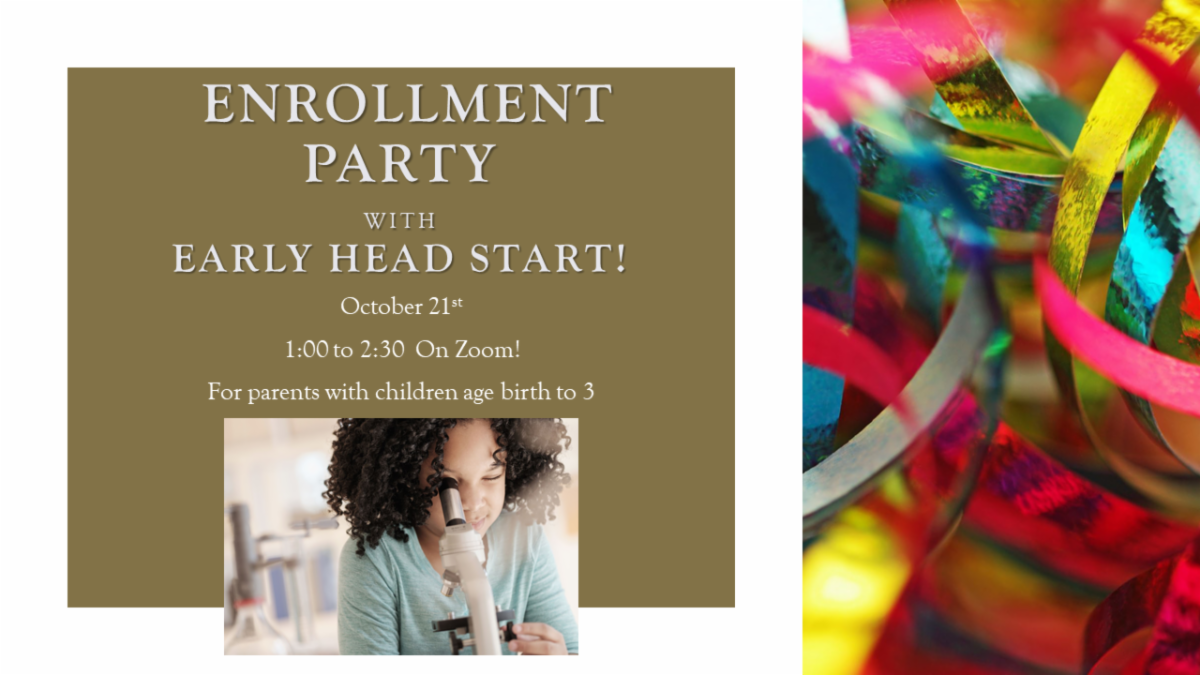 Enrollment Party Flyer with Image of Girl with Microscope