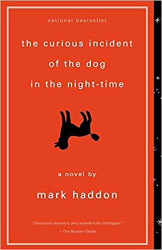 book cover in red of the curious incident of the dog in the night time a novel by mark haddon
