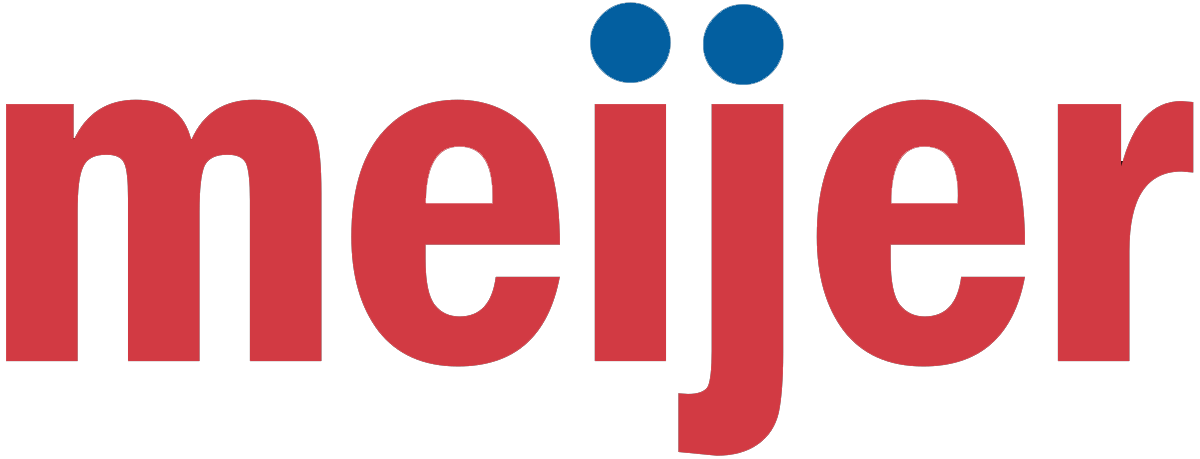 meijer logo red letters with blue dots