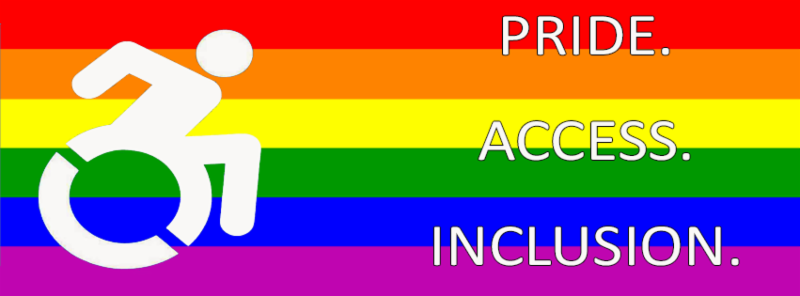 Pride. Access. Inclusion on rainbow flag with disability logo