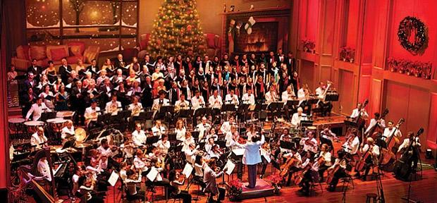 symphony orchestra with christmas decorations