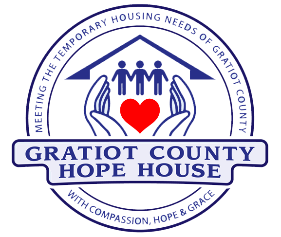 gratiot county hope house logo features blue hands cradling red heart and three people in a home