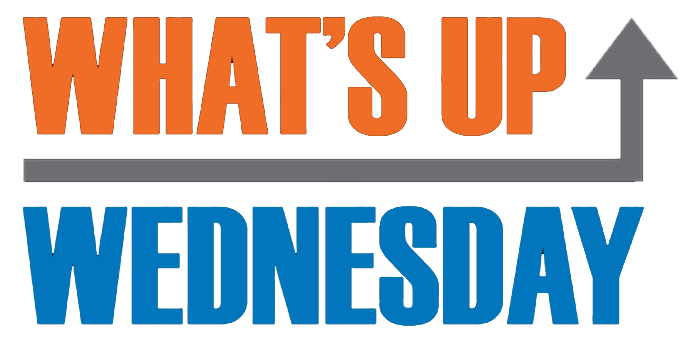 what_s up in orange with gray arrow pointing up and wednesday in blue