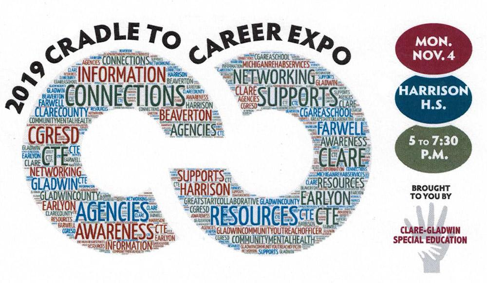 2019 Cradle To Career Expo logo with word map. Monday November 4th at Harrison High School 5 to 7_30 pm.