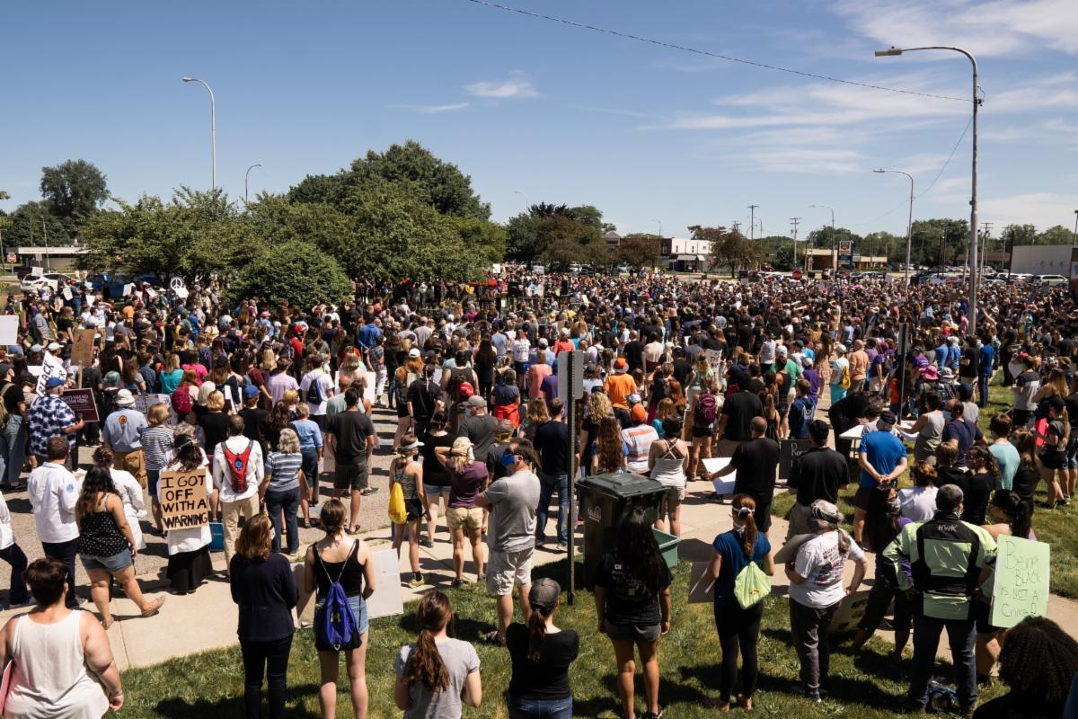 hundreds of protestors at black lives matter rally in midland
