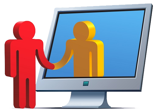 clipart image of two people one in red shaking hands with another in a computer screen