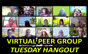 virtual peer group tuesday hangout shows 15 people on a virtual Zoom conference call