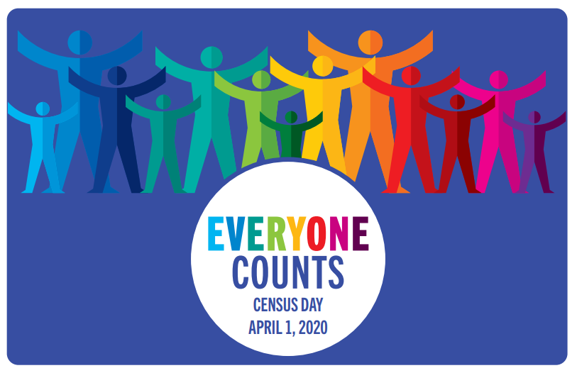 everyone counts census day april 1_ 2020 shows clip art people with arms raised in all colors of the rainbow